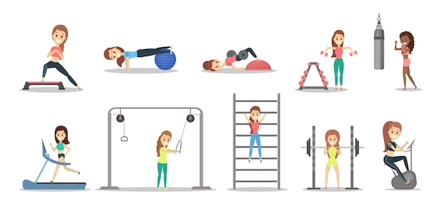 Conjunto de mujeres bonitas haciendo ejercicios en el gimnasio. fitness y estilo de vida saludable. levantamiento de pesas, boxeo y aeróbicos. ilustración