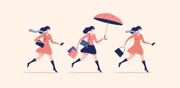Conjunto de mujeres caminando o corriendo. compras navideñas y de temporada.