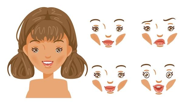 Conjunto de mujeres de cara. moda moderna para surtido. cabeza de peinado femenino. chica de cabello castaño.