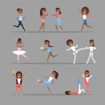 Conjunto de mujeres deportivas. chicas afroamericanas que practican diferentes tipos de deportes: jugar baloncesto, boxeo, correr y ganar la competencia. gimnasia y ballet. ilustración vectorial plana