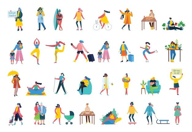 Conjunto de mujeres con diferentes actividades y signos.