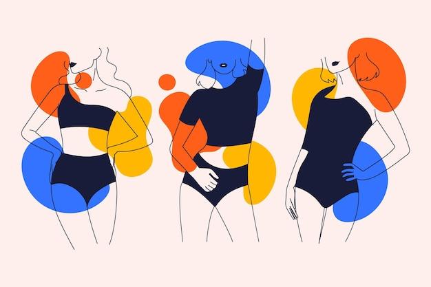 Conjunto de mujeres en elegante estilo de línea de arte