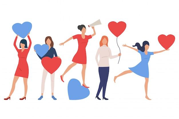 Conjunto de mujeres enamoradas
