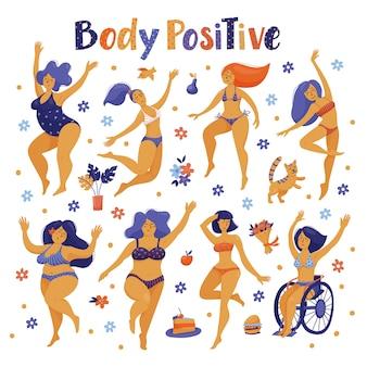 Conjunto de mujeres felices positivas del cuerpo bailando en bikini