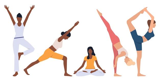 Conjunto de mujeres flexibles practicando yoga.