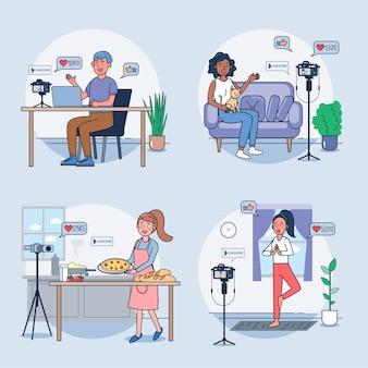 Conjunto de mujeres haciendo videos en casa.