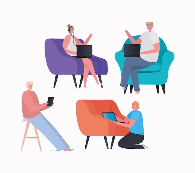 Conjunto de mujeres y hombres con computadora portátil y tableta trabajando en el diseño de la silla del tema trabajo desde casa