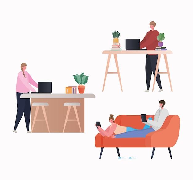 Conjunto de mujeres y hombres con computadora portátil y tableta trabajando en el diseño de sofá y mesa del tema trabajo desde casa