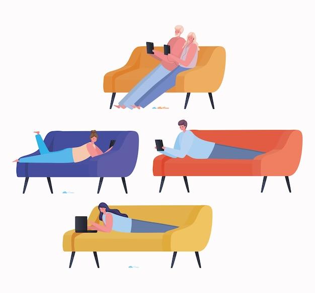 Conjunto de mujeres y hombres con computadora portátil y tableta trabajando en el diseño de sofás del tema trabajo desde casa