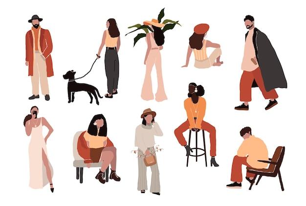 Conjunto de mujeres y hombres jóvenes con estilo en trajes de moda que hacen las cosas cotidianas