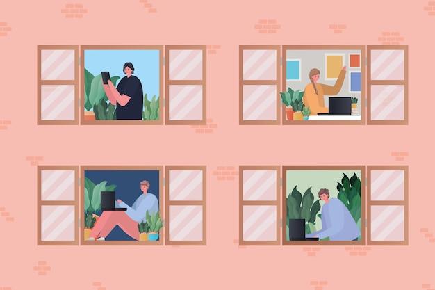 Conjunto de mujeres y hombres con laptop trabajando en el diseño de ventanas del tema trabajo desde casa