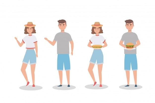 Conjunto de mujeres y hombres con sandwinch y hamburguesa.