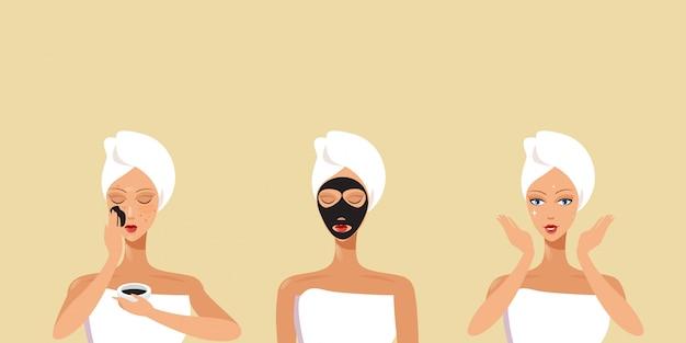 Conjunto de mujeres jóvenes aplicando máscaras faciales negras niñas envueltas en toalla cuidado de la piel spa tratamiento facial concepto retrato horizontal