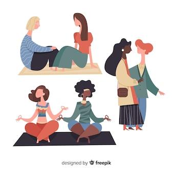 Conjunto de mujeres jóvenes pasar tiempo juntos