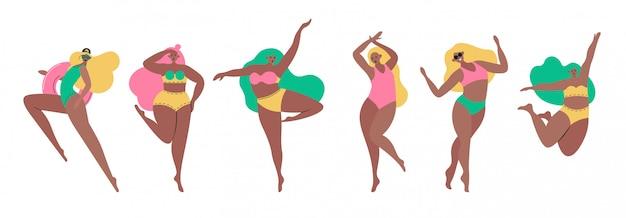 Conjunto de mujeres jóvenes pin up chicas vestidas con ropa de traje de moda. cuerpo grupal de activistas positivas o feministas. personajes de dibujos animados femeninos aislados sobre fondo blanco. ilustración coloreada plana