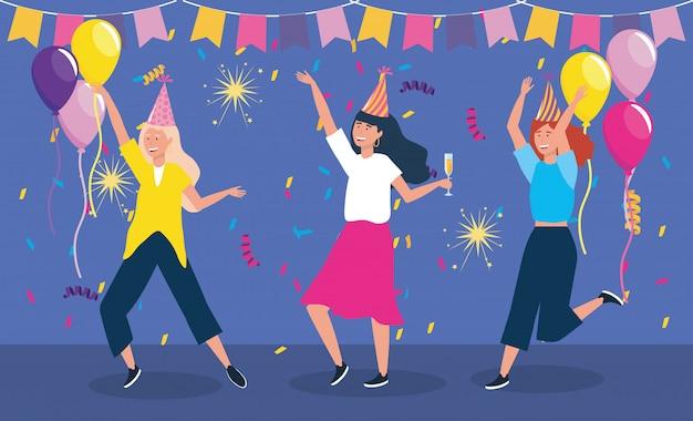 Conjunto de mujeres lindas bailando con sombrero de fiesta