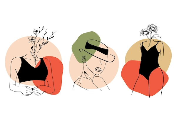 Conjunto de mujeres en línea elegante estilo de arte