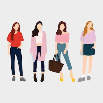 Conjunto de mujeres de moda joven, chicas con estilo. diseño plano. ilustración vectorial