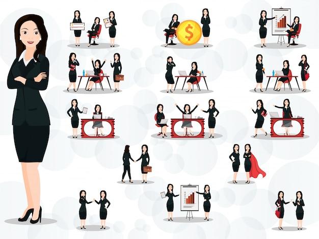 Conjunto de mujeres de negocios en diferentes poses de trabajo y gestos en