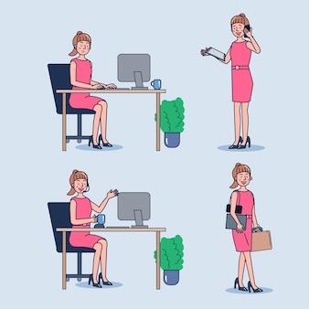 Conjunto de mujeres de negocios que trabajan en la oficina.