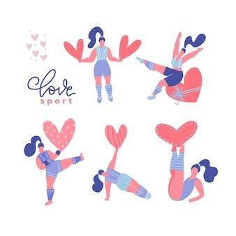 Conjunto de mujeres positivas de cuerpo diverso con corazones románticos y haciendo deporte.