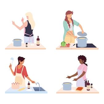 Conjunto de mujeres preparando comida en blanco