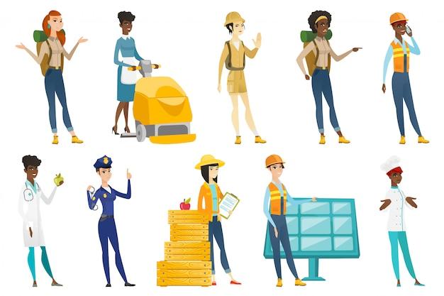 Conjunto de mujeres profesionales