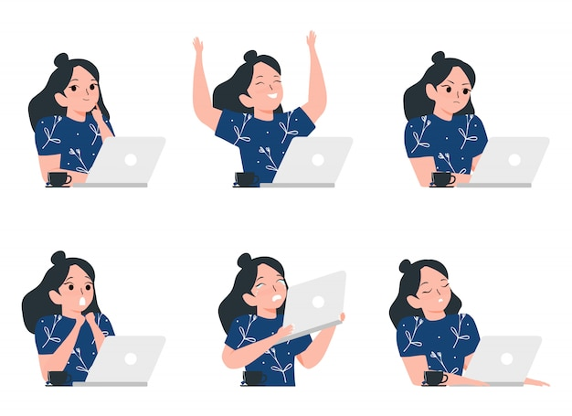 Conjunto de mujeres que trabajan en la computadora portátil con la ilustración de diferentes emociones. proceso de trabajo y concepto independiente
