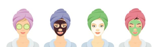 Conjunto de mujeres en un spa con máscaras faciales diferentes