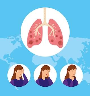 Conjunto de mujeres tosiendo y pulmones infectados