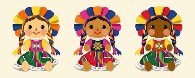 Conjunto de muñeca maria tradicional mexicana