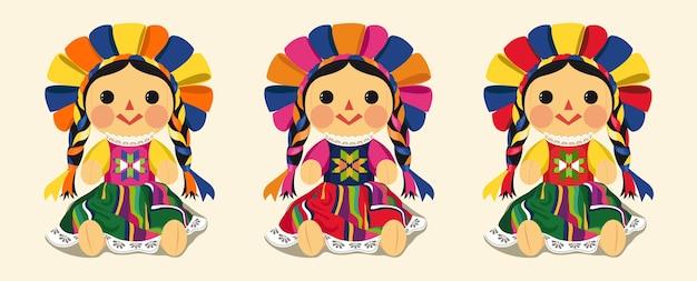 Conjunto de muñeca maría tradicional mexicana