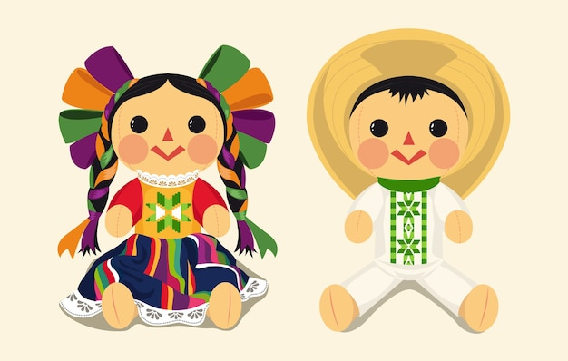 Conjunto de muñeca de trapo tradicional mexicana