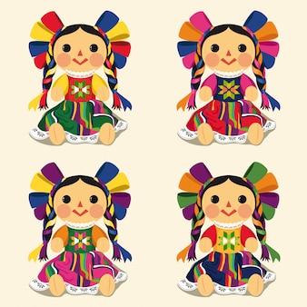Conjunto de muñecas maría tradicional mexicana
