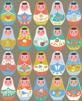 Conjunto de muñecas matryoshka, juguetes tradicionales rusos