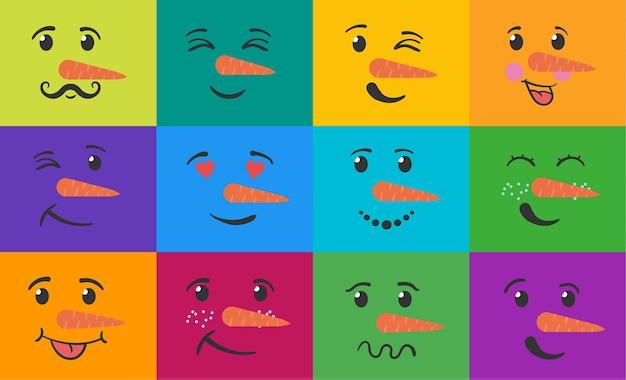 Conjunto de muñeco de nieve de cara divertida emoticonos divertidos sonrisa con expresiones cabezas de muñeco de nieve doodle dibujado a mano plana