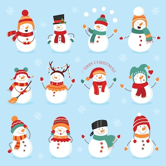 Conjunto de muñeco de nieve de vacaciones de invierno. muñecos de nieve alegres en diferentes trajes. chef de muñeco de nieve, mago, muñeco de nieve con dulces y regalos.