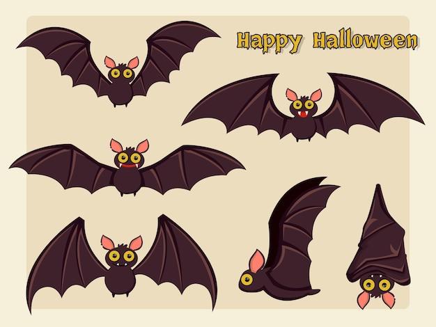 Conjunto, de, murciélago, caricatura, vector, halloween, en, fondo., vector, illustration.