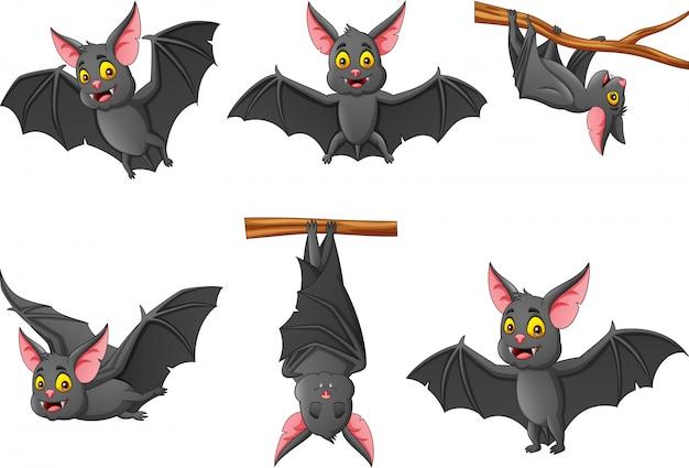 Conjunto de murciélago de dibujos animados con diferentes expresiones