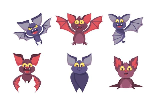 Conjunto de murciélagos lindos con emociones divertidas. personajes de dibujos animados de halloween, personajes cómicos con bozales sonrientes volando o sentado aislado sobre fondo blanco. animales alados de vampiro. ilustración vectorial