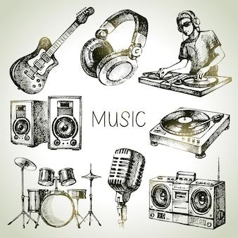Conjunto de música de boceto. ilustraciones vectoriales dibujadas a mano de iconos de dj