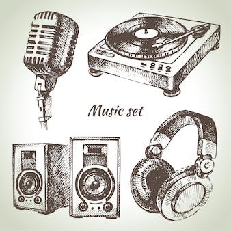 Conjunto de música dibujado a mano ilustraciones de iconos de dj