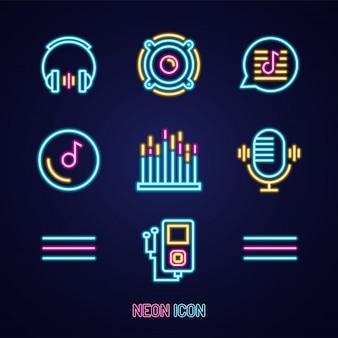 Conjunto de música icono de colores de contorno de neón luminoso simple en azul