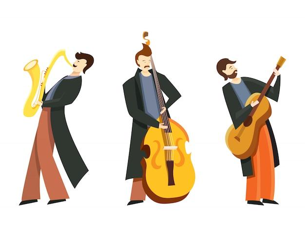 Conjunto de músicos de jazz. contrabajista, saxofonista y guitarrista en estilo plano aislado sobre fondo blanco.