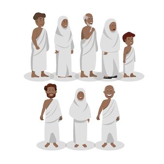 Conjunto de musulmanes africanos vistiendo ihram durante el hayy