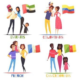 Conjunto de nacionalidades de familias