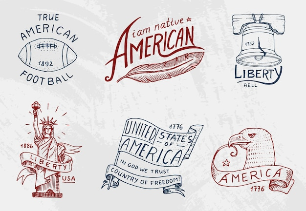 Conjunto de nativos americanos. viejos, etiquetas o insignias para acampar, ir de excursión, cazar. estatua y campana de la libertad o libertad, bandera, águila y bola con indio de piel roja. grabado dibujado a mano en boceto antiguo.
