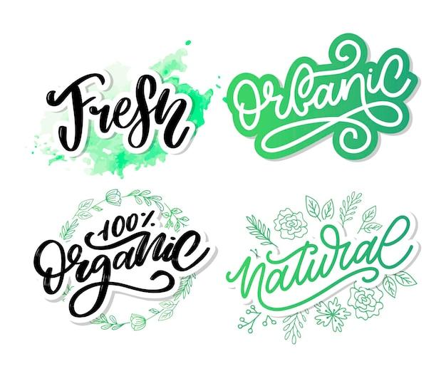 Conjunto natural vector rotulación sello ilustración lema caligrafía