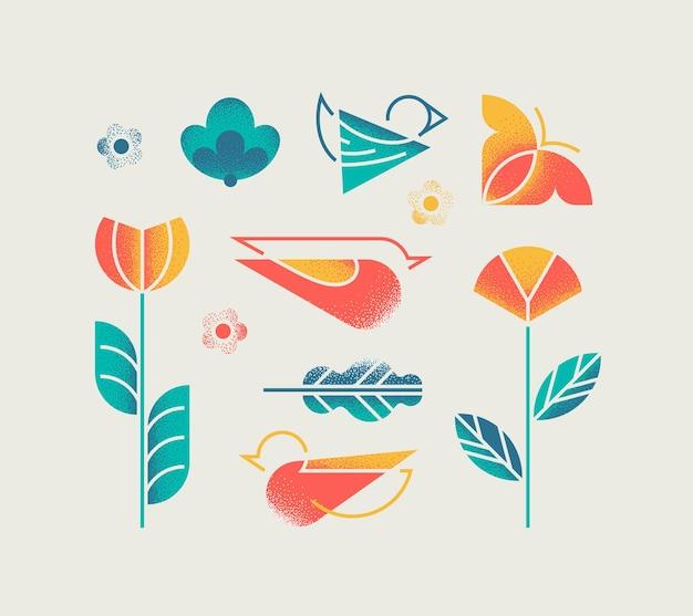 Conjunto de naturaleza aislada de primavera y verano con flores, pájaros y mariposas con textura de grano abstracto.