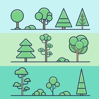 Conjunto de naturaleza colorida geométrica del bosque del parque del arbusto del árbol. iconos de estilo plano de contorno de trazo lineal. colección de iconos de color lineart.